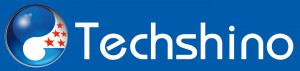 Techshino Logo with blue background